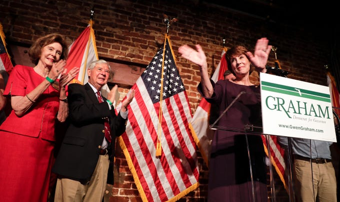 Democratic gubernatorial candidate Gwen Graham, front right, waves to supporters before giving her concession speech as her mother Adele Graham, left, and father former Florida Gov. and Senator, Bob Graham applaud at a primary election night party Tuesday, Aug. 28, 2018, in Orlando, Fla. (AP Photo/John Raoux)