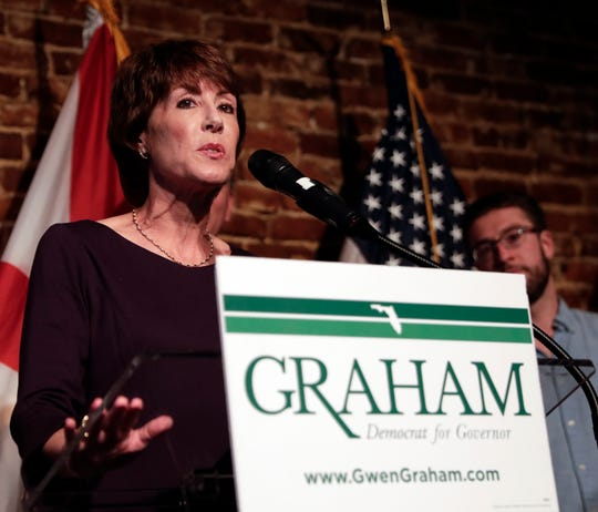 Democratic gubernatorial candidate Gwen Graham gives her concession speech at a primary election night party Tuesday, Aug. 28, 2018, in Orlando, Fla. Tallahassee Mayor Andrew Gillum defeated former U.S. Rep. Graham, the daughter of former U.S. Sen. Bob Graham and four other candidates. (AP Photo/John Raoux)