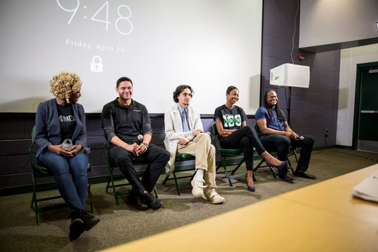 Cori Bostic, (fourth from left), participates in panel discussion on virtual reality film developed by L. Michelle.