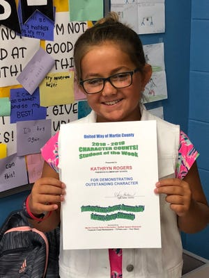 Congratulations, Kathryn Rogers, UWMC CHARACTER COUNTS! Student of the Week for Sept. 12.