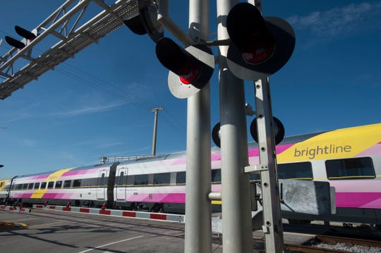 Brightline trains continue service between West Palm Beach and Fort Lauderdale, seen on Thursday, Jan. 18, 2018 in Boynton Beach.