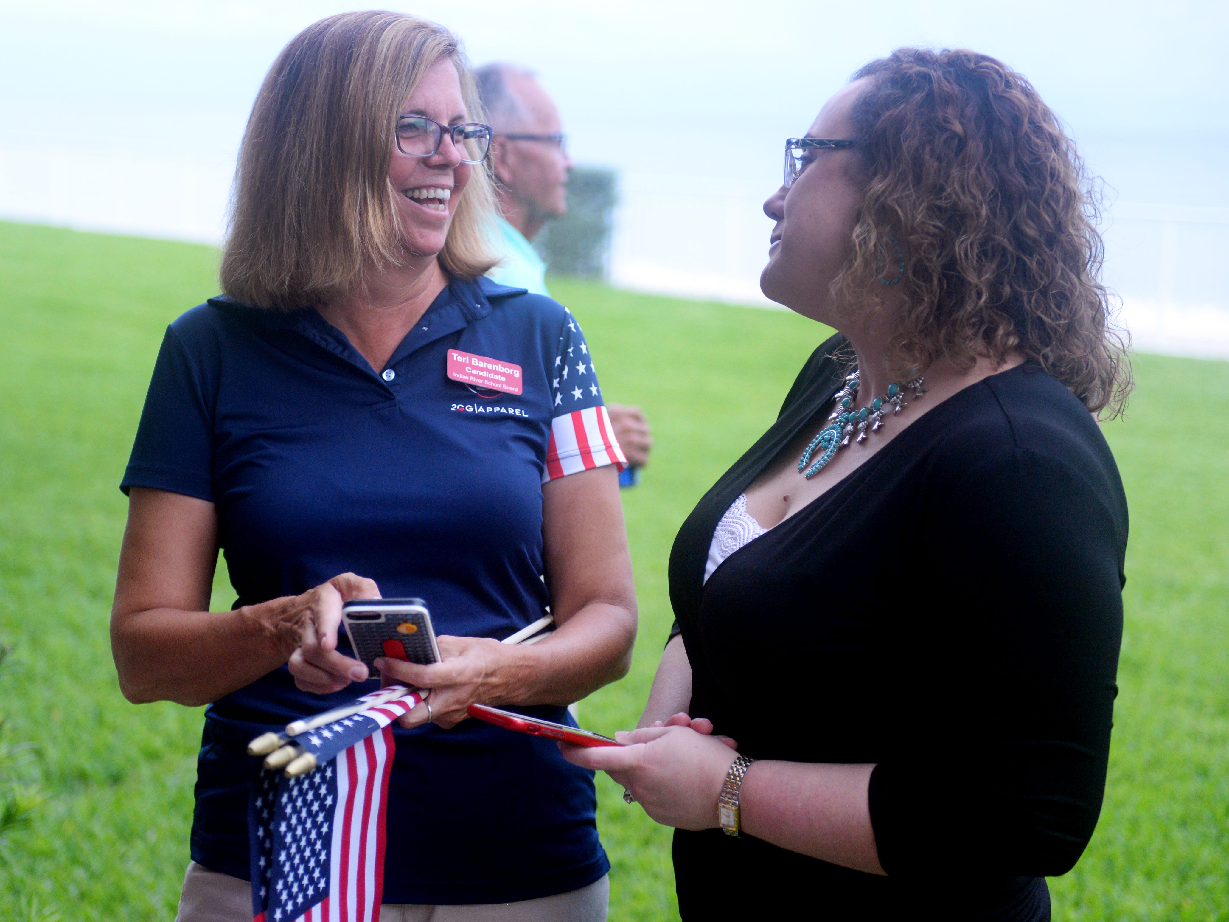 Indian River County School Board District 4 candidate Teri Barenborg (left) talks with State Rep. Erin Grall on Tuesday, Aug. 28, 2018 during an election watch party at the Holiday Inn and Suites in Vero Beach. Barenborg will go against Stacey Klim in a runoff election in November.