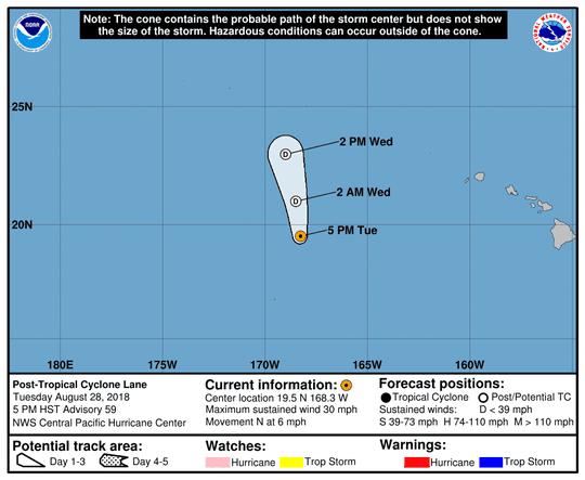 Post-Tropical Storm Lane 11 p.m. Aug. 28, 2018.
