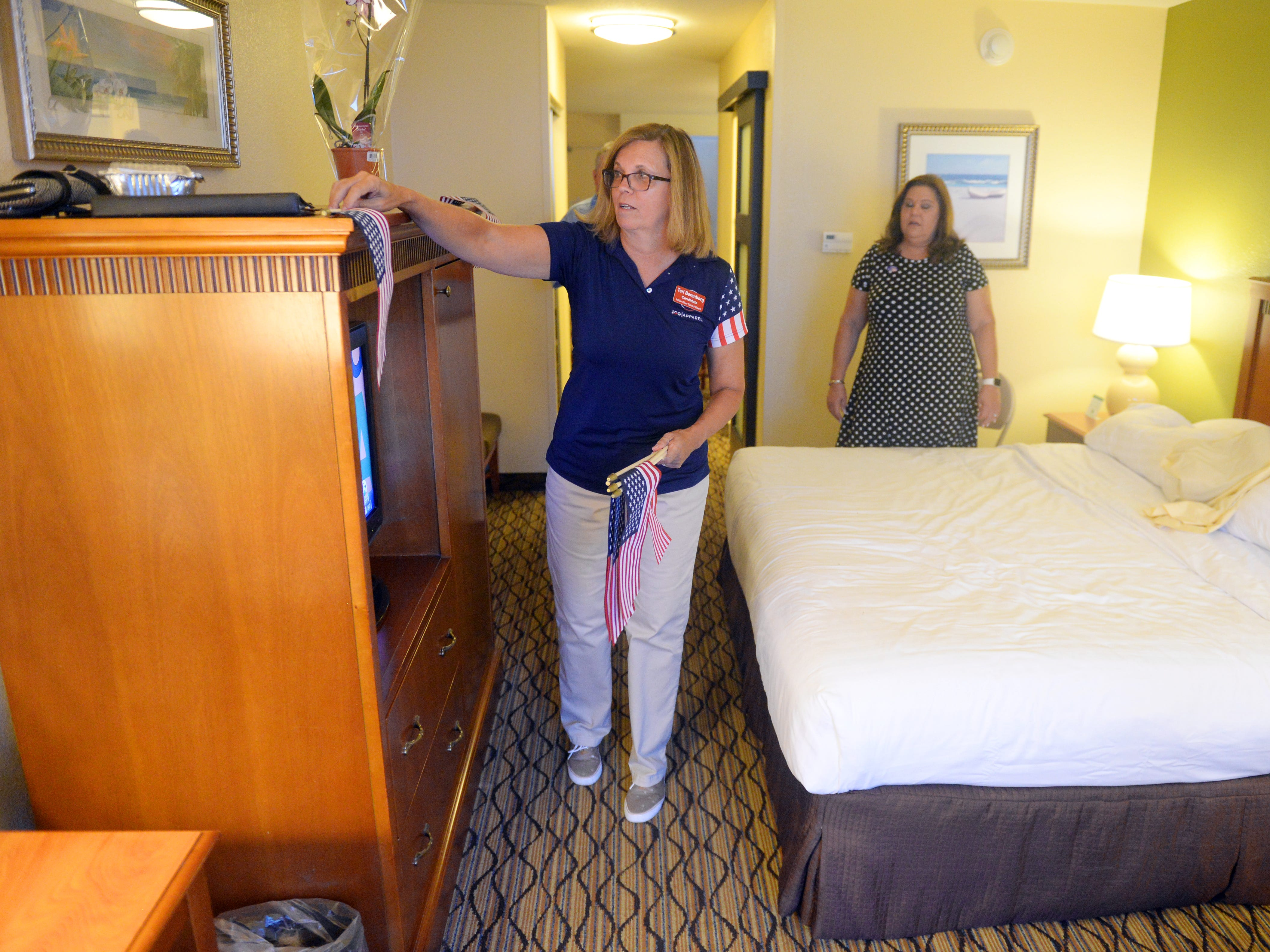 Indian River School Board District 4 candidate Teri Barenborg held an election watch party with friends and family at the Holiday Inn and Suites on Tuesday, Aug. 28, 2018 in Vero Beach. Barenborg will face Stacey Klim in a runoff election in November.