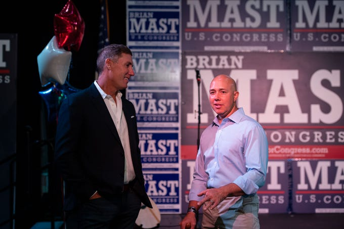 U.S. Rep. Brian Mast gathers with supporters at this primary election night party on Tuesday, Aug. 28, 2018, at Flagler Place in downtown Stuart.