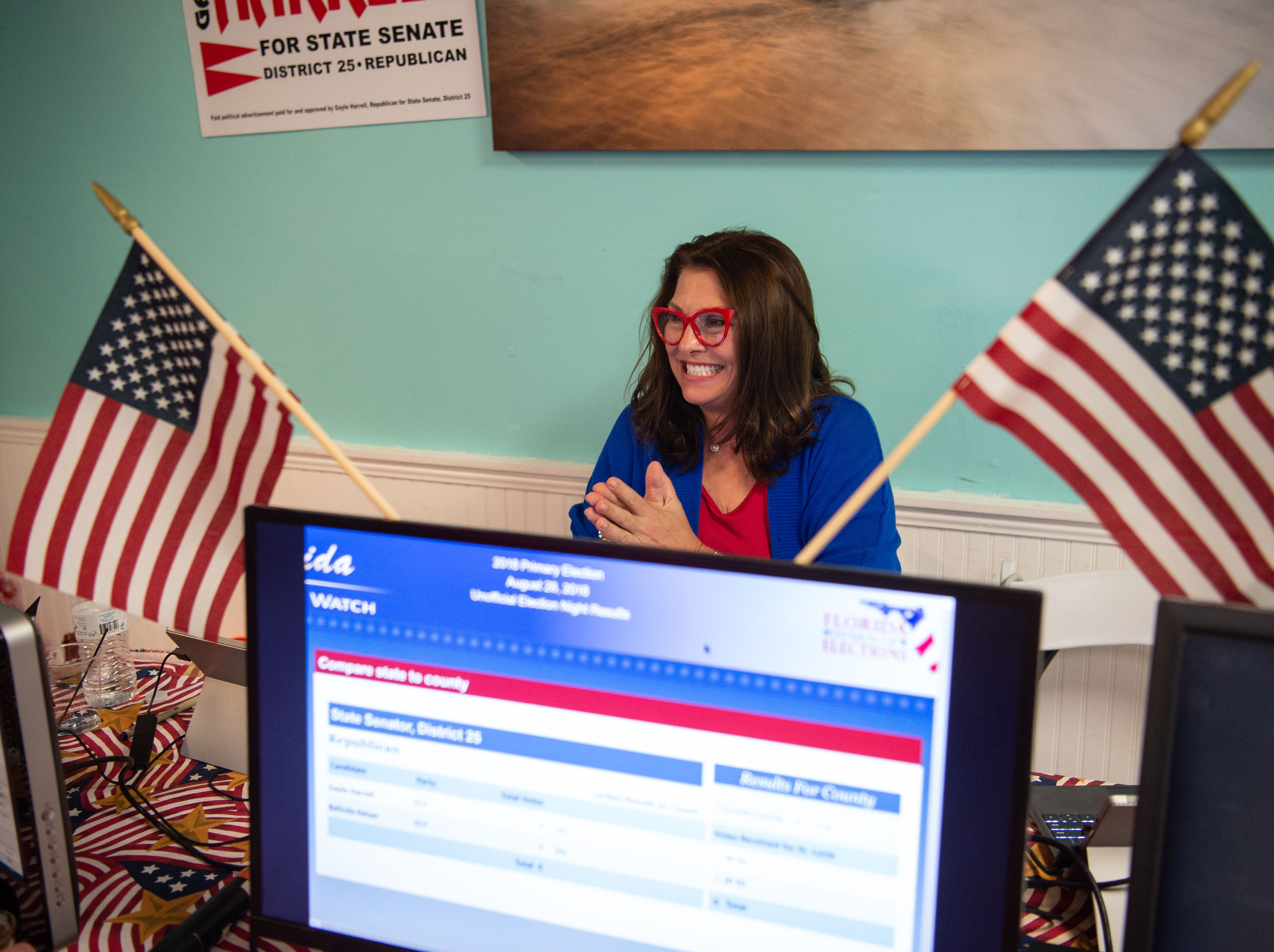"""Victoria Zepp, a child advocate in Tallahassee, a volunteer for State Rep. Gayle Harrell senate campaign, cheers news of Harrell's lead over Belinda Keiser for the Republican nomination on Tuesday, Aug. 28, 2018, at Flagler Place in downtown Stuart. """"Gayle Harrell has chaired Children and Families in the House...without her, we wouldn't have half the protections on our children,"""" Zepp said."""