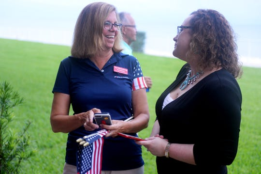 Indian River County School Board District 4 candidate Teri Barenborg (left) talks with State Rep. Erin Grall on Tuesday, Aug. 28, 2018, during an election watch party at the Holiday Inn and Suites in Vero Beach. Barenborg will go up against Stacey Klim in a runoff duirng the November election.