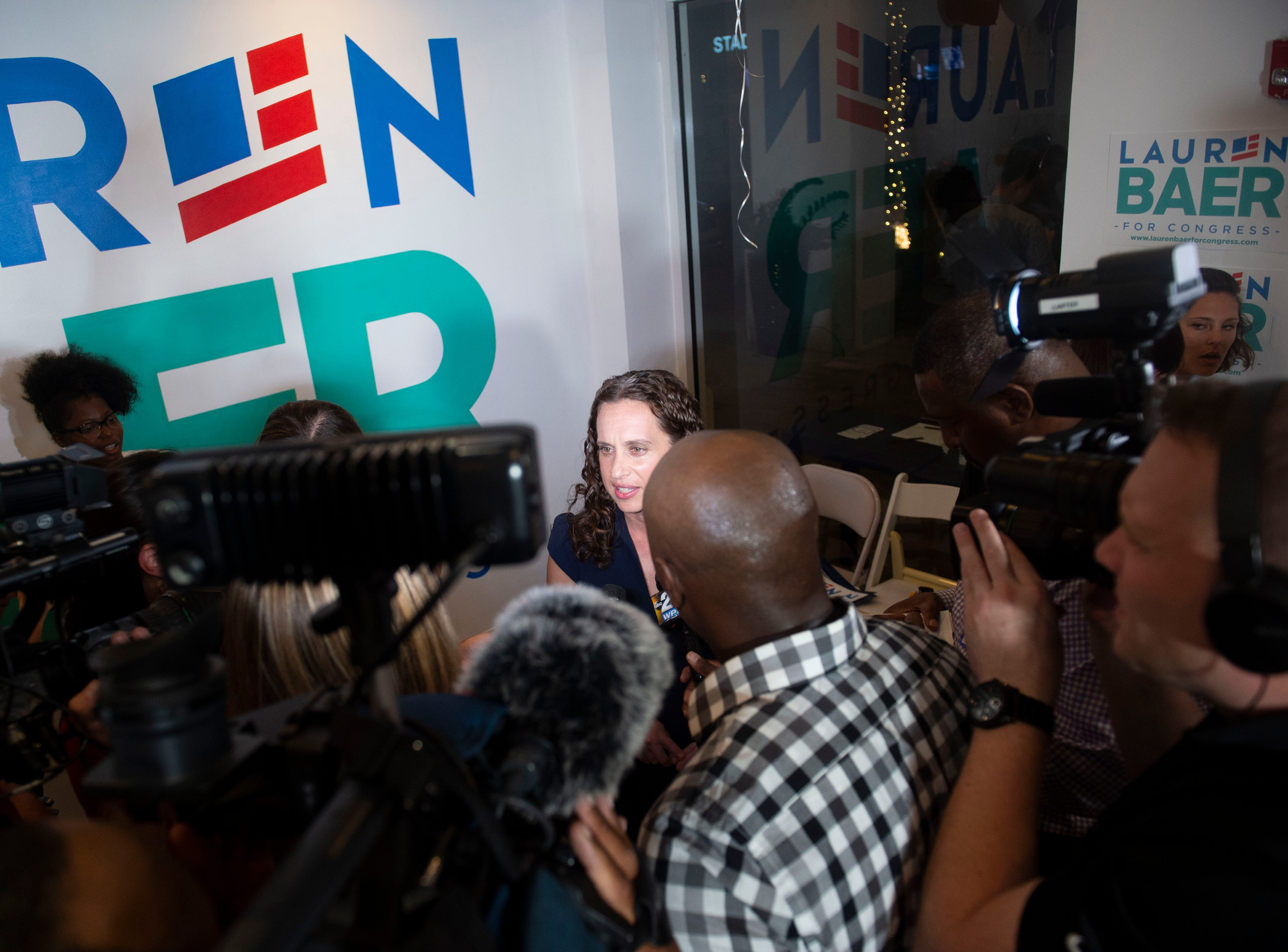 Democrat Lauren Baer, of Palm Beach Gardens, celebrates her victory in the U.S. House District 18 race against Pam Keith on Tuesday, Aug. 28, 2018 during her primary election night party at her campaign office in Jupiter. Baer, a former Obama administration foreign policy advisor, will be facing incumbent U.S. Rep. Brian Mast in the Nov. 6 general election.