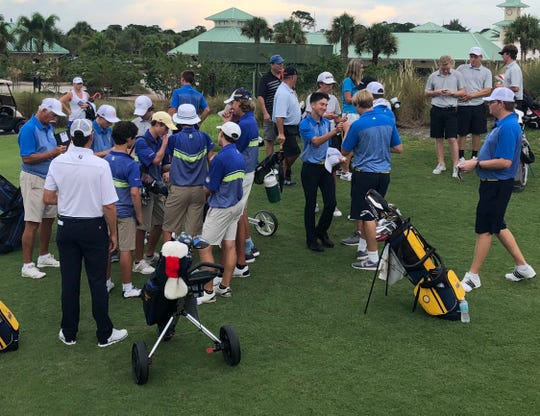 Golfers from Jensen Beach, The Pine School and John Carroll Catholic gathered at the Ryder Course at the PGA Golf Club in Port St. Lucie for a tri-match during the high school season.