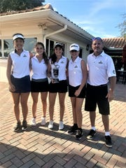 Pine School's girls golf team of (from left) Jue Wen, Kate Faulkner, Andie Smith, Brianna Castaldi and coach Eric Fineberg won The Shootout on Monday at Admiral's Cove in Jupiter.