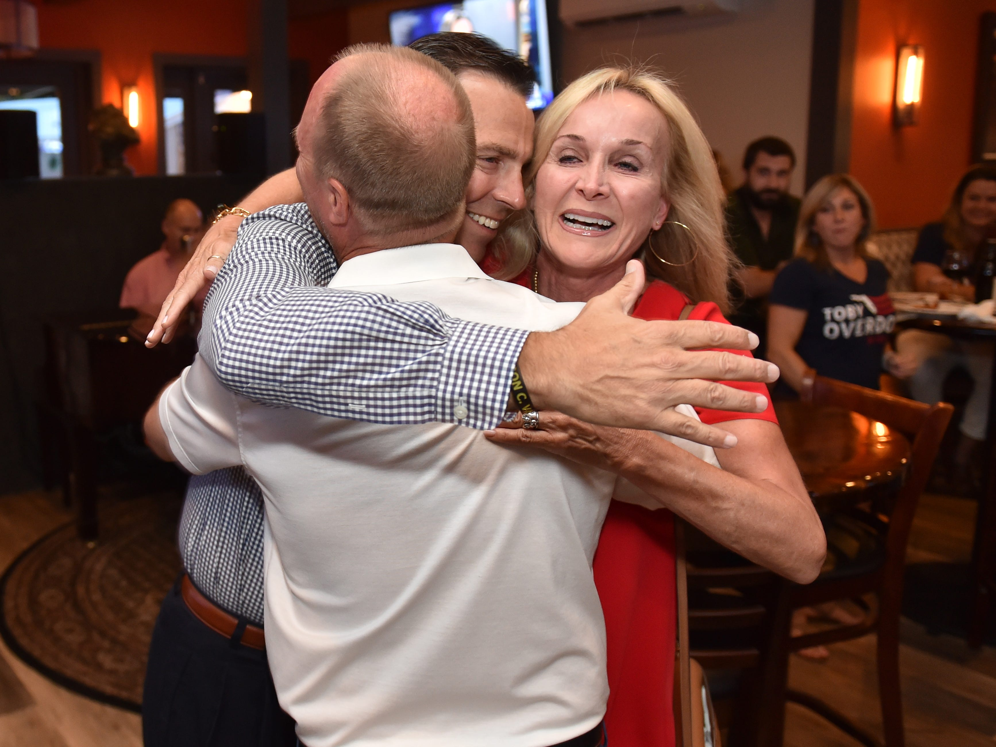 Toby Overdorf celebrates his win over Sasha Dadan in the Florida House District 83 Republican primary at the Talk House in Stuart on Tuesday, Aug. 28, 2018. Overdorf will face Democrat Matt Theobald, a Jensen Beach teacher, in the Nov. 6 general election for the two-year seat that represents parts of Martin and St. Lucie counties, currently held by Republican Rep. Gayle Harrell.