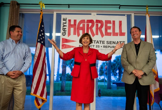 State Rep. Gayle Harrell (center) thanks a crowd of supporters after Sen. Bill Galvano (right) announced her victory Tuesday, Aug. 28, 2018, over Belinda Keiser for the republican nomination for the Dist. 25 senate seat being vacated by Sen. Joe Negron. Harrell also thanked Sen. Travis Hutson (left) during her primary election night party at Flagler Place in downtown Stuart.