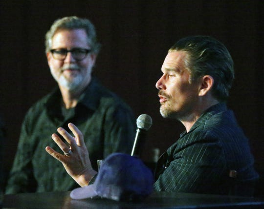 """Actor and director Ethan Hawke, right, talks with guest interviewer Charles Horak after the screening of the movie """"Blaze"""" on Tuesday night at Alamo Drafthouse Cinema-Montecillo. Hawke directed the movie, starring his longtime friend Ben Dickey."""