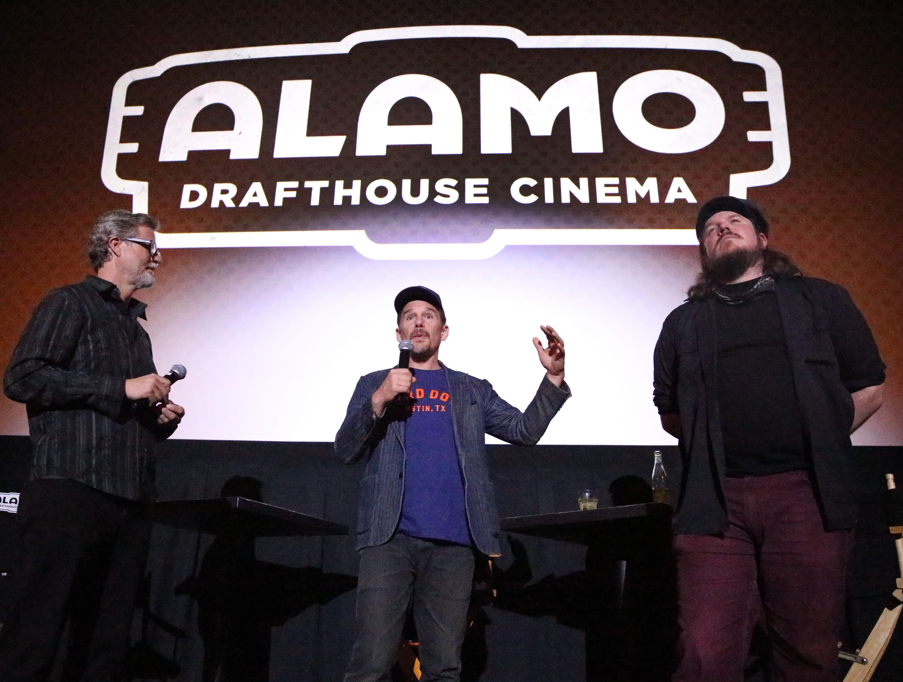 Actor and director Ethan Hawke, center, talks to a sold-out audience that saw a screening of the movie 'Blaze' on Tuesday night at Alamo Drafthouse Cinema-Montecillo in West El Paso. Hawke directed the film, based on the life of country musician Blaze Foley of Texas and starring his longtime friend, Ben Dickey, right, At left is guest interviewer Charles Horak.