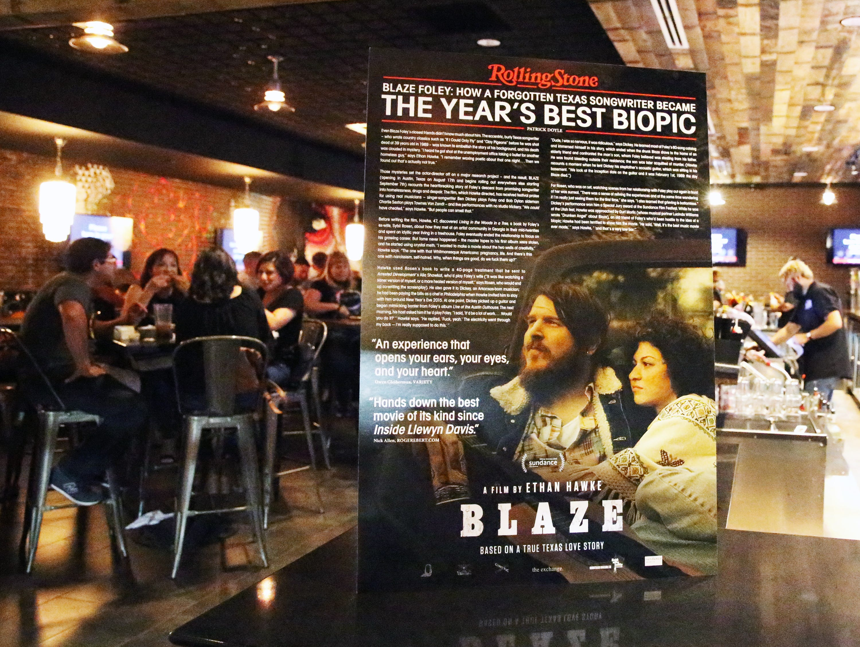 An advertisement for the movie 'Blaze' at Alamo Drafthouse Cinema.