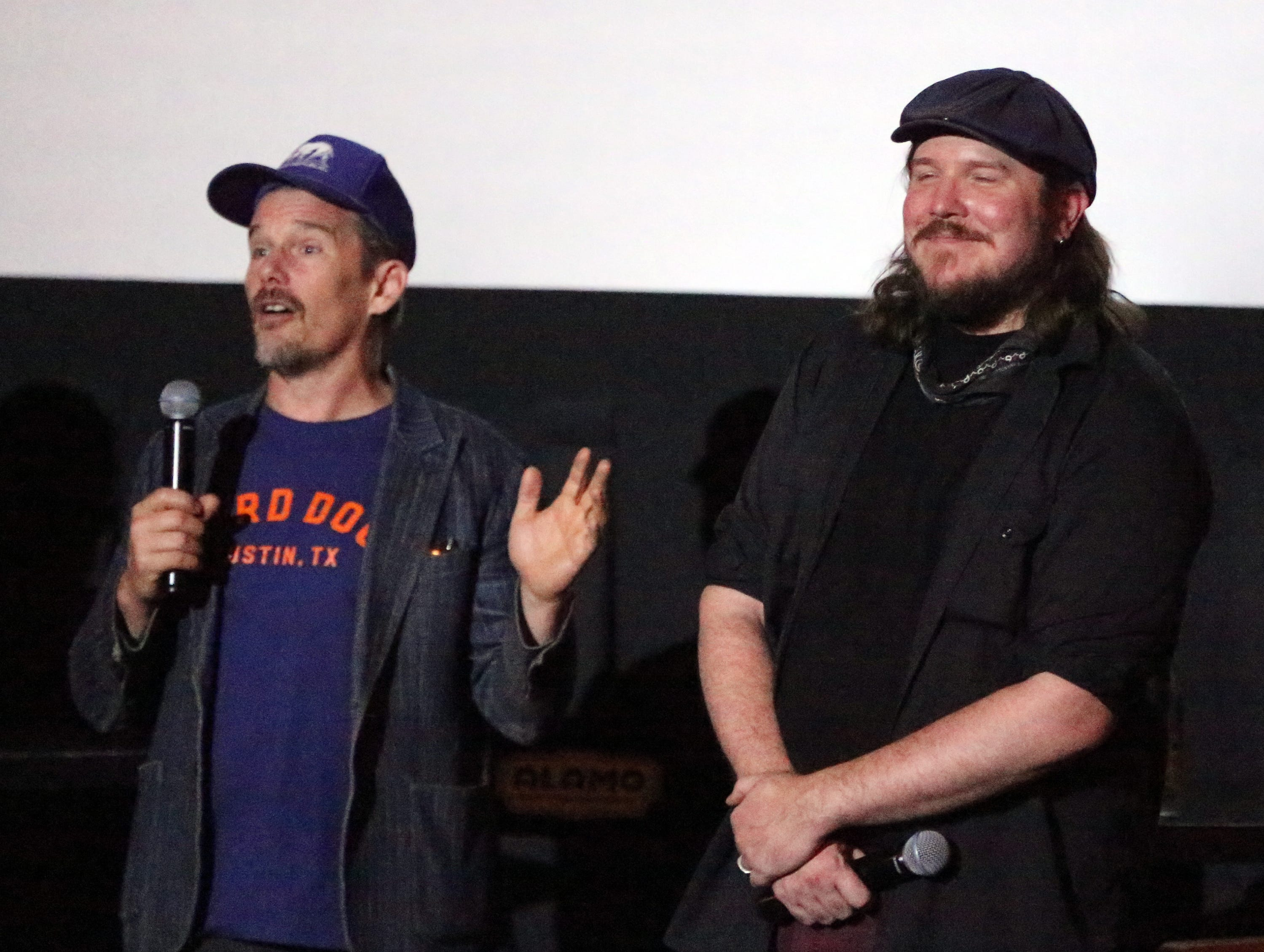Actor and director Ethan Hawke, left, talks of his friend, musician and first-time actor Ben Dickey, following a screening of the movie 'Blaze' Tuesday night at Alamo Drafthouse Cinema.