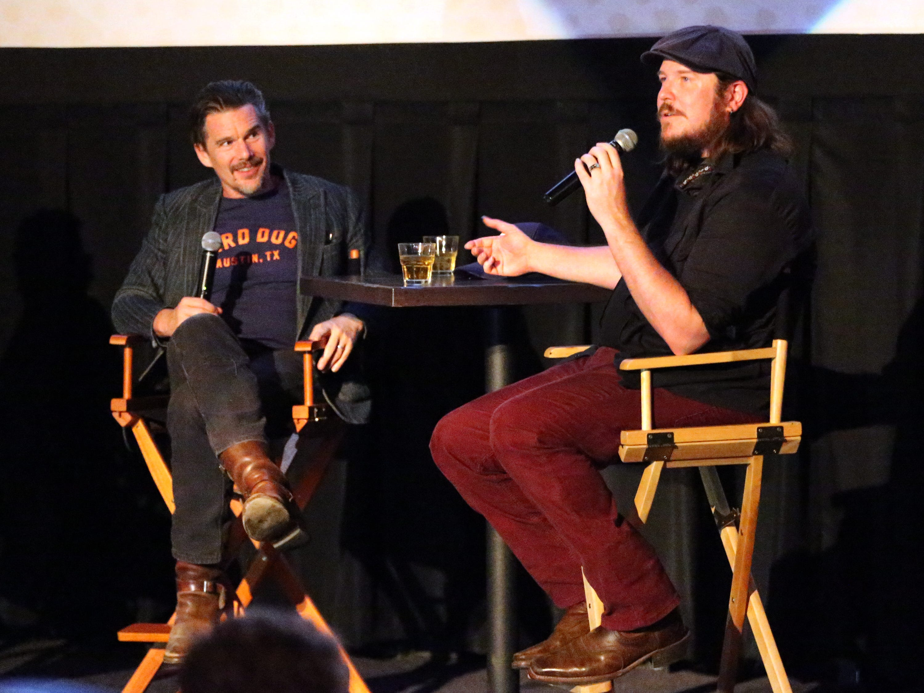 Musician and first-time actor Ben Dickey, right, talks of his starring role in the movie 'Blaze' with actor-director Ethan Hawke, left, following the screening of the movie Tuesday night at Alamo Drafthouse Cinema.