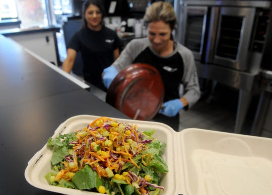 Thai chicken salad topped with corn, carrots, cabbage and tangy dressing is on the menu at Body Fuel Bistro, the Port Hueneme restaurant operated by the mother-daughter team of Angie Wiggins and Hailey Wiggins. Many of the other dishes on the menu are named for family members.