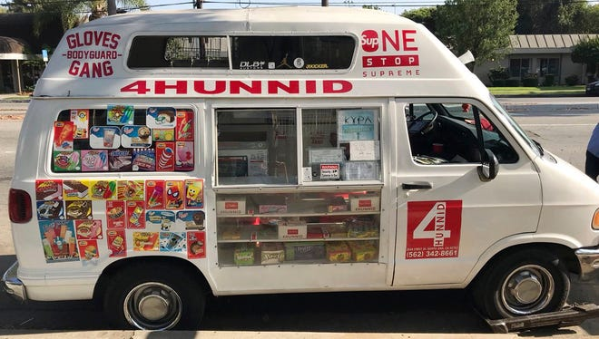 This undated photo provided by the Long Beach Police Department shows an ice cream truck where two men were arrested on suspicion of dealing drugs. Long Beach detectives said they found narcotics in the truck while conducting an investigation during the weekend.