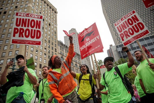 Union Activists Protest Supreme Court Janus V Afscme Decision In New York
