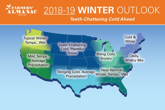 Map shows the Farmers' Almanac's 2018-19 'teeth-chattering' winter weather prediction by region.