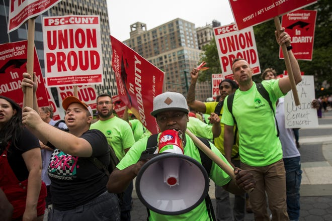 Union activists and supporters rally against the Supreme Court's ruling in the Janus v. AFSCME case, in Foley Square in Lower Manhattan, in June in New York City.