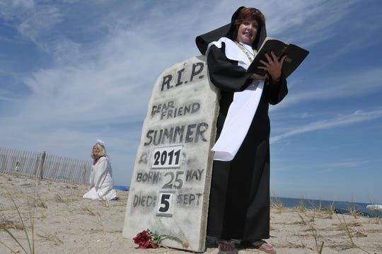 Marie Wright on Bethany Beach in 2011 for the town's annual Labor Day jazz funeral.