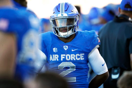 FILE- In this Nov. 4, 2017, file photo, Air Force quarterback Arion Worthman looks on as time winds down in the second half of an NCAA college football game against Army at Air Force Academy, Colo. Leaner and faster than last season, Worthman is ready to lead the Falcons into the Mountain West season ahead. (AP Photo/David Zalubowski, File)