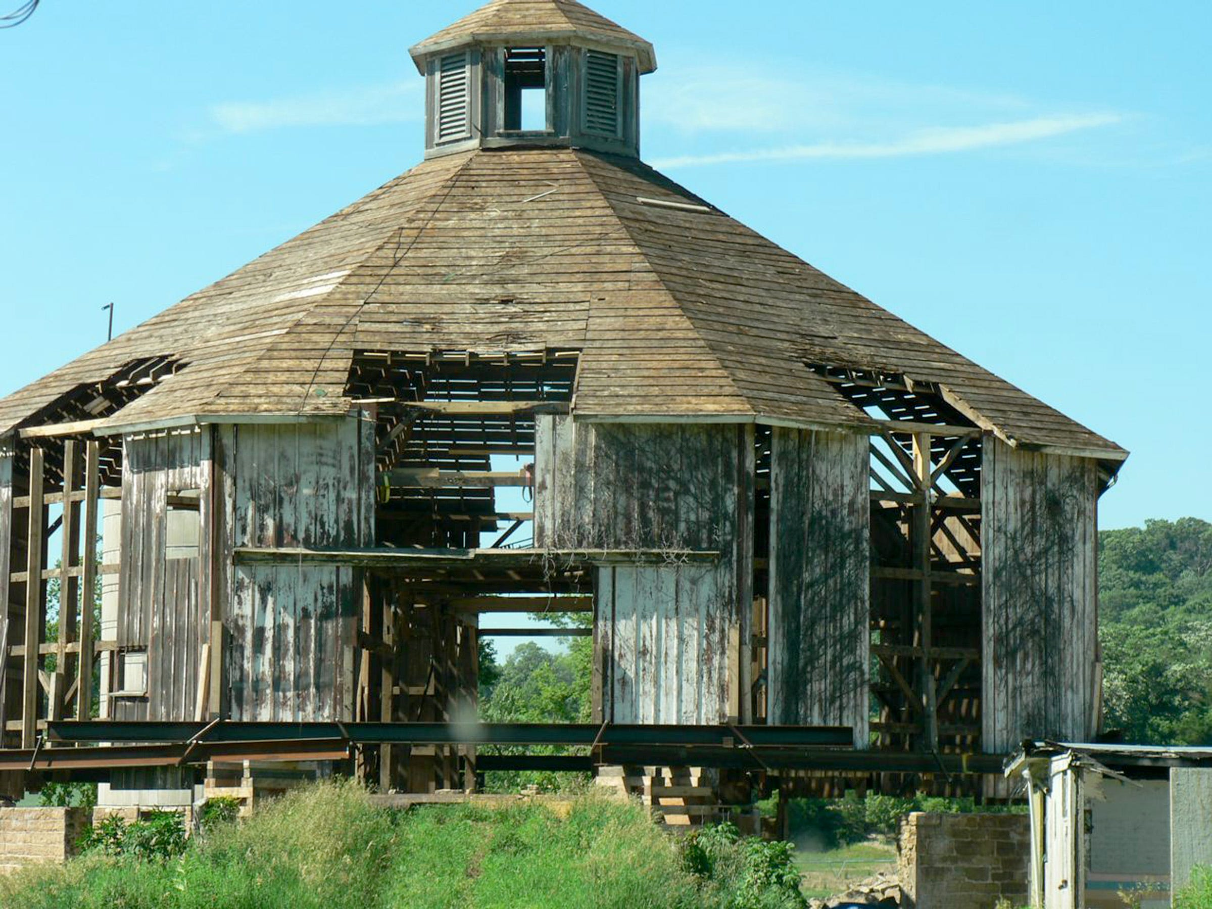 An eight sided, long vacant barn is being restored as an entertainment site.