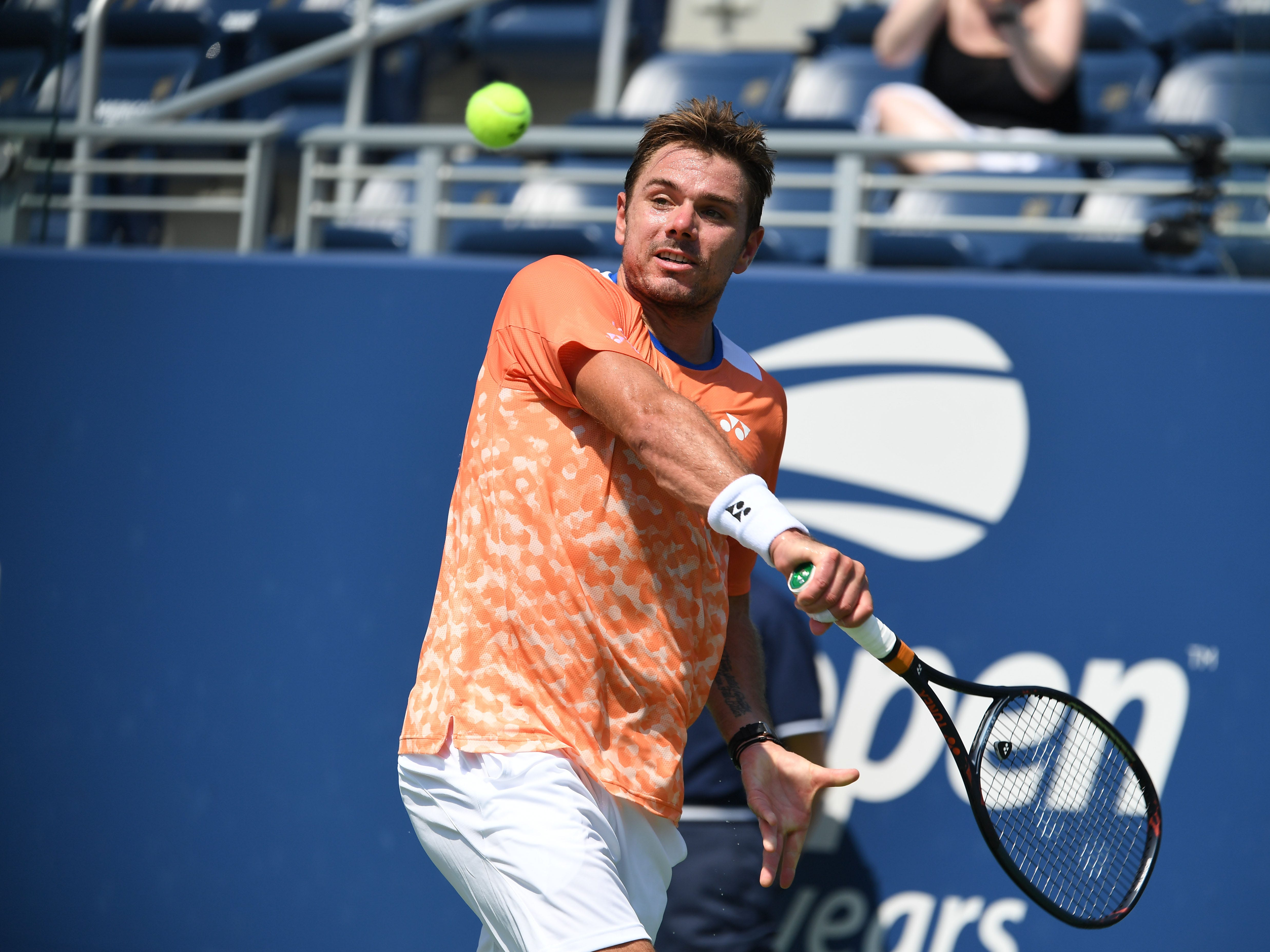 Stan Wawrinka of Switzerland hits to Ugo Humbert of France in a second-round match at the U.S. Open.