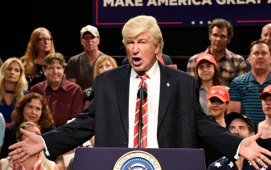 "Alec Baldwin as President Trump on a previous episode of ""SNL."""
