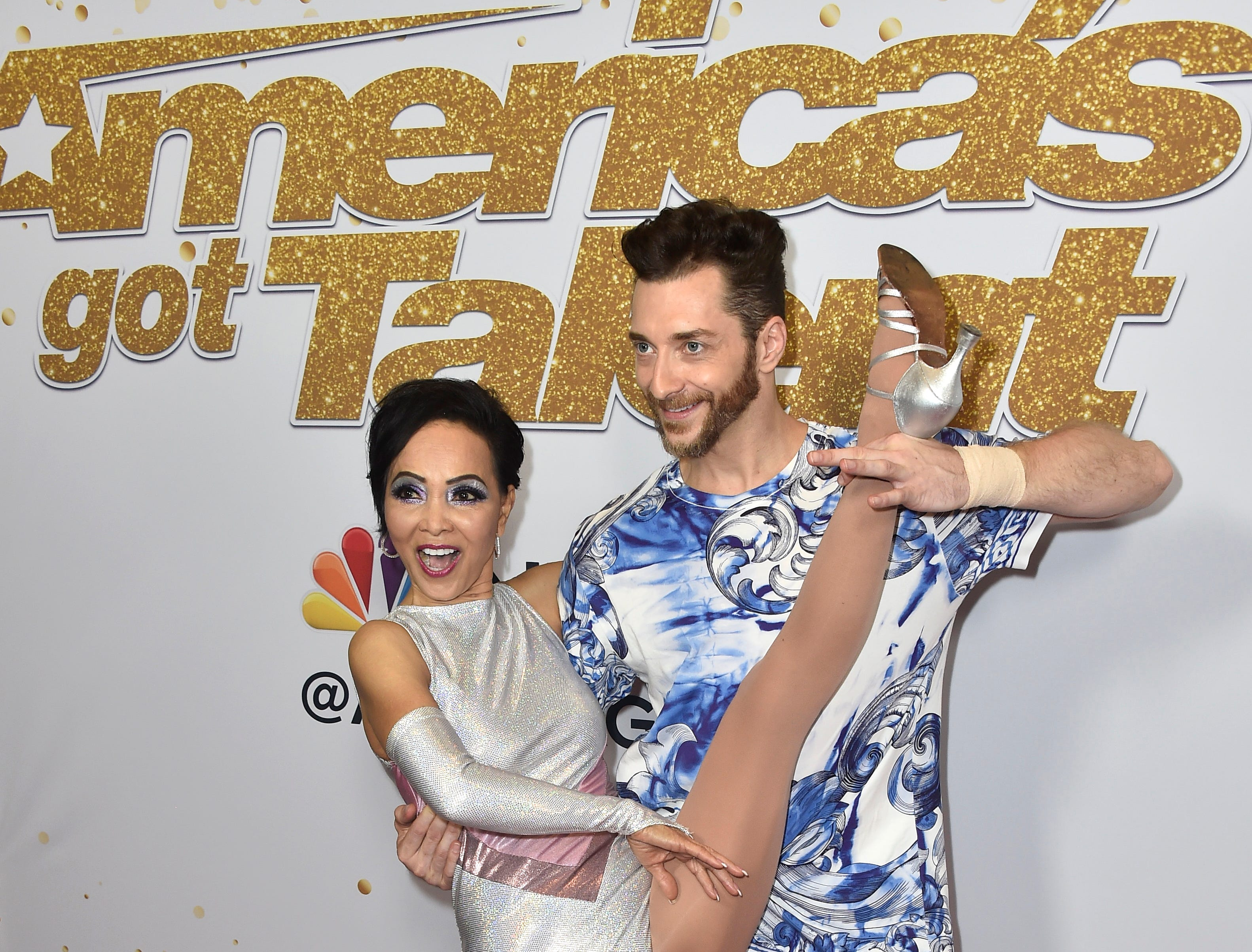"Whoa! Things got hot on the America's Got Talent"" Season 13 Live Show red carpet with contestants Quin and Misha on Aug. 21, 2018 in Hollywood."