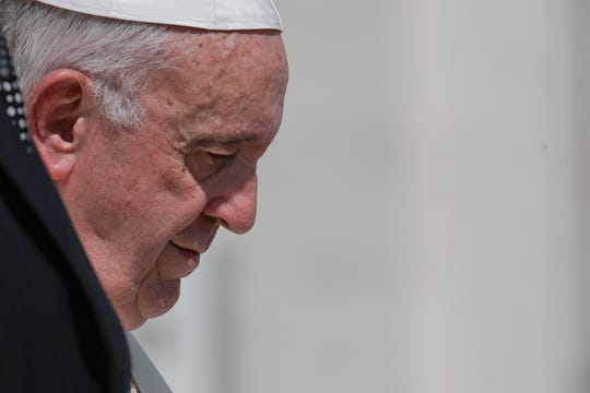 Pope Francis leaves after his weekly general audience, at the Vatican, Wednesday, Aug. 29, 2018. Pope Francis lamented Wednesday how Irish church authorities failed to respond to the crimes of sexual abuse, speaking during his first public appearance at the Vatican after bombshell accusations that he himself covered up for an American cardinal's misdeeds.