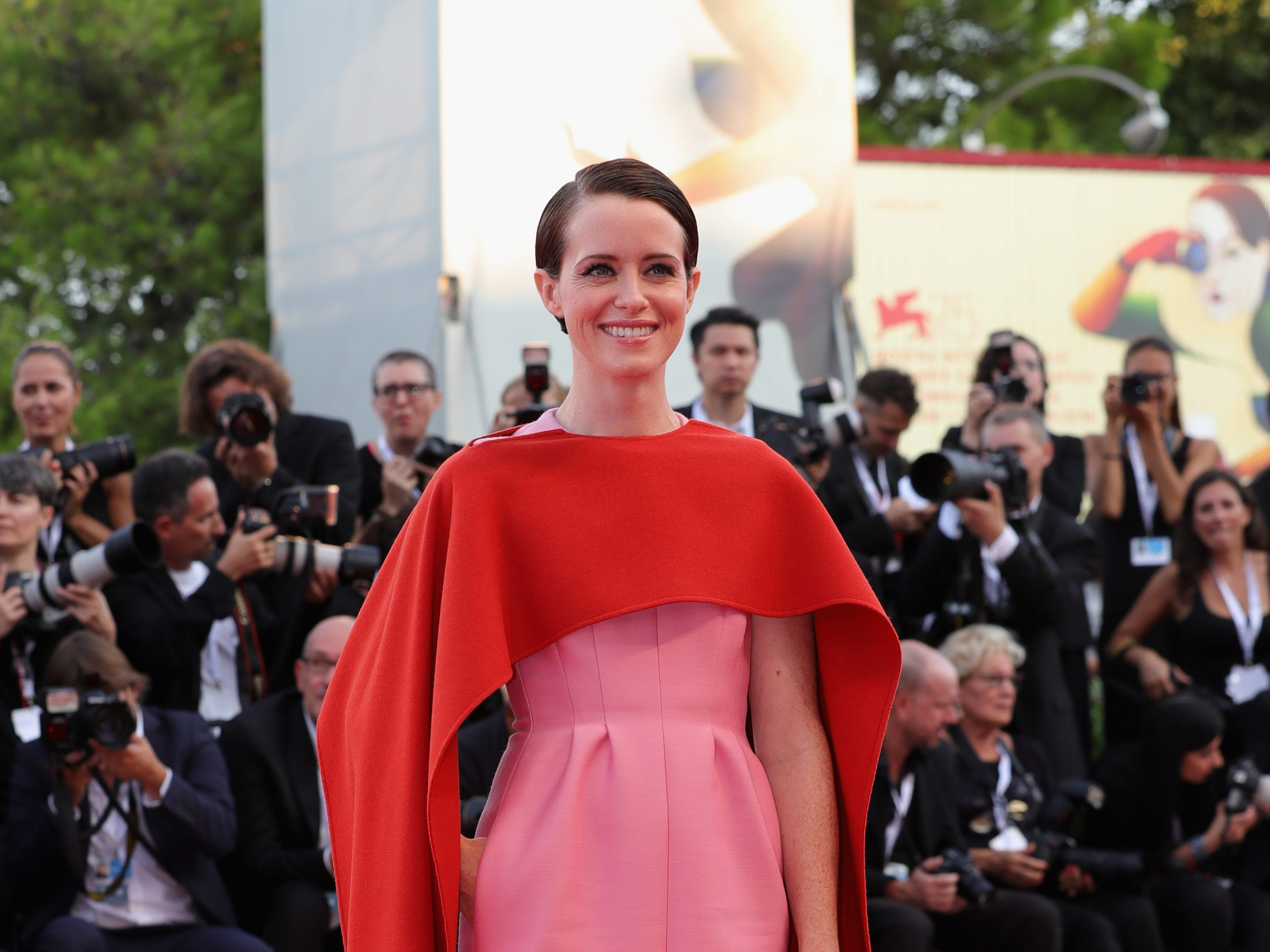 VENICE, ITALY - AUGUST 29:  Claire Foy walks the red carpet ahead of the opening ceremony and the 'First Man' screening during the 75th Venice Film Festival at Sala Grande on August 29, 2018 in Venice, Italy.  (Photo by Vittorio Zunino Celotto/Getty Images) ORG XMIT: 775200608 ORIG FILE ID: 1025048488