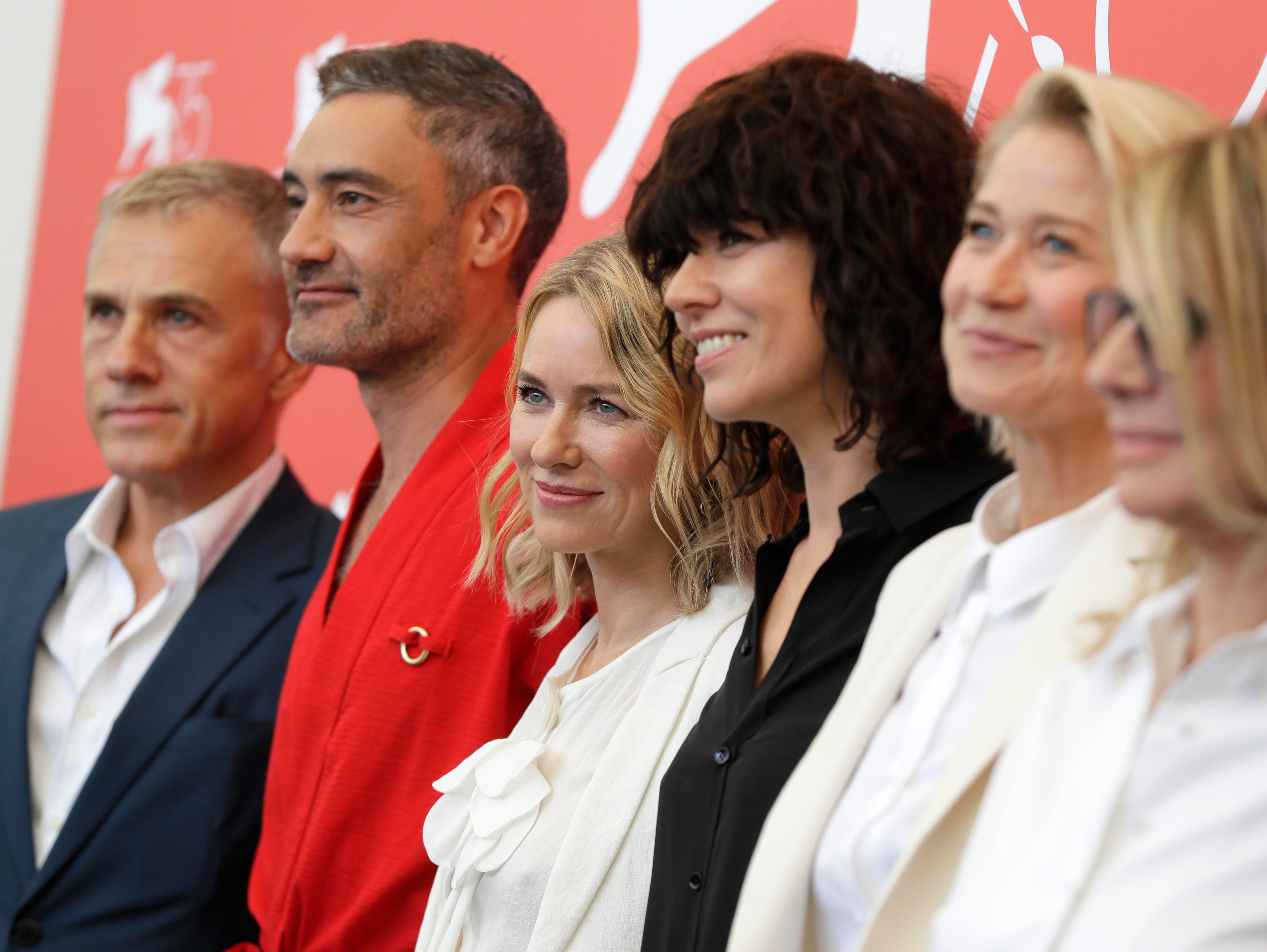 Jury members Christoph Waltz, from left, Taika Waititi, Naomi Watts, Malgorzata Szumowska, Trine Dyrholm and Nicole Garcia pose for photographers at the photo call for the Jury at the 75th edition of the Venice Film Festival in Venice, Wednesday, Aug. 29, 2018. (AP Photo/Kirsty Wigglesworth)