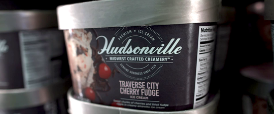Local ingredients like the Michigan cherries found in Traverse City Cherry Fudge are a staple of Hudsonville Ice Cream.