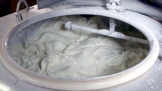 Hudsonville Ice Cream being prepared for freezing.