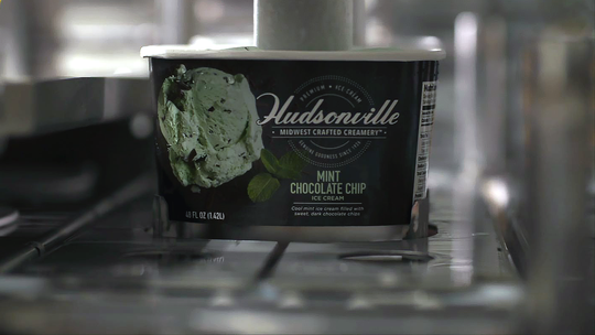 Hudsonville Ice Cream getting packaged and ready to ship.