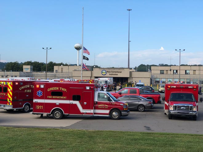 Various law enforcement and medical crews responded to Ross Correctional Facility on Wednesday, Aug. 29, 2018, in Chillicothe, Ohio, where several correctional officers and inmates were exposed to an unknown substance, causing overdose-like symptoms.