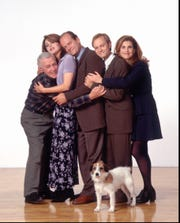 """Frasier"" - which featured John Mahoney, left, Jane Leeves, Kelsey Grammer and Peri Gilpin - was a ""Cheers"" spinoff that became arguably TV's greatest comedy of manners."