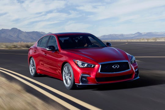 This undated photo provided by Infiniti North America shows the 2018 Infiniti Q50 luxury sedan. Shoppers in the Los Angeles area will see Labor Day discounts of more than $9,000 for the car, depending on the trim. (Courtesy of Infiniti North America via AP)
