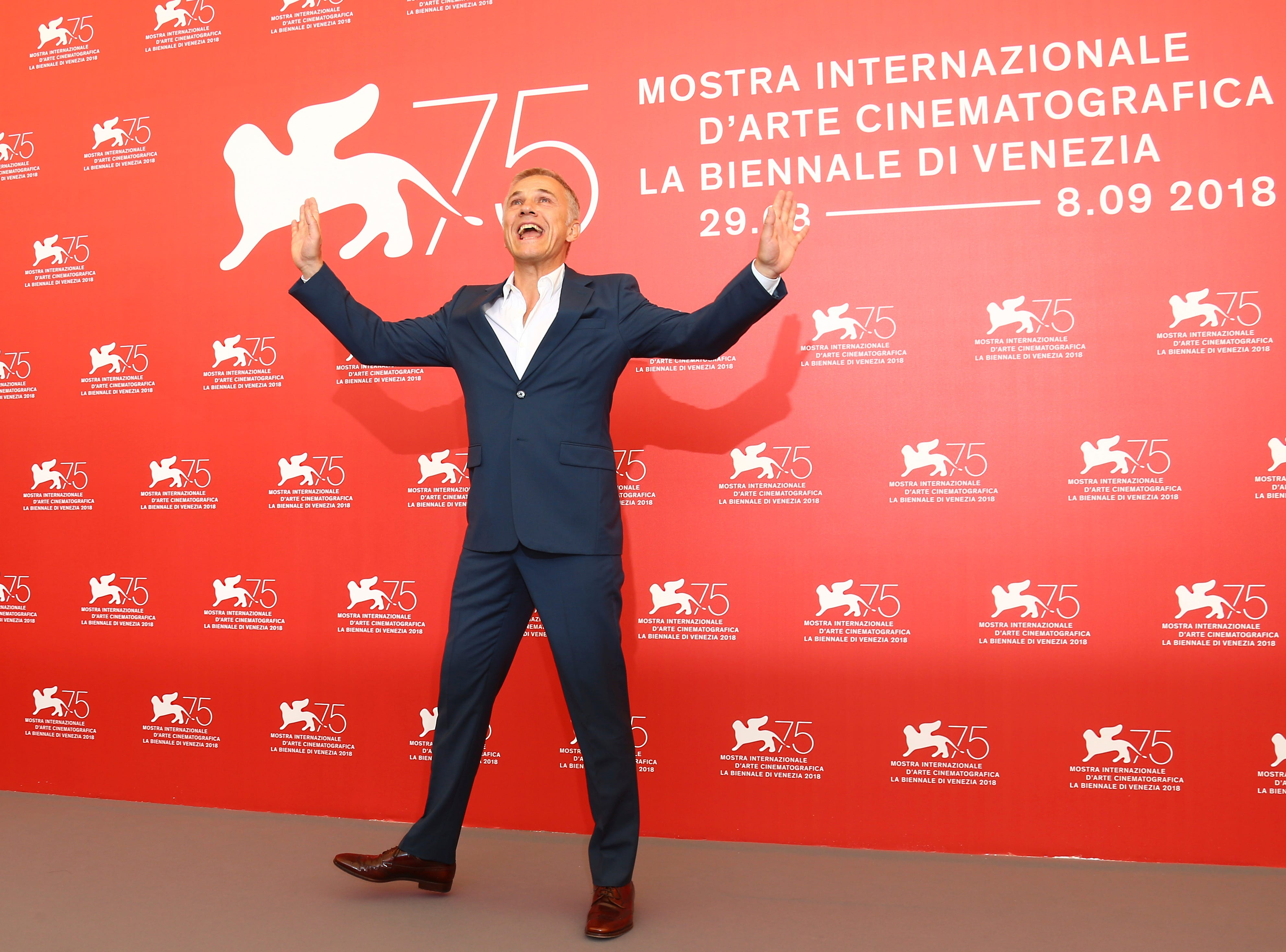 Jury member Christoph Waltz poses for photographers at the photo call for the Jury at the 75th edition of the Venice Film Festival in Venice, Italy, Wednesday, Aug. 29, 2018. (Photo by Joel C Ryan/Invision/AP) ORG XMIT: LENT115