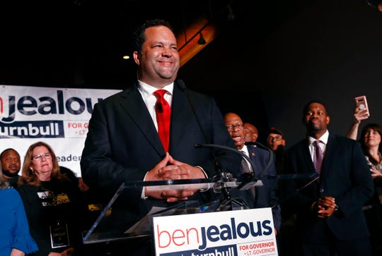 Maryland Democratic gubernatorial candidate Ben Jealous addresses supporters at an election night party June 26, 2018, in Baltimore.