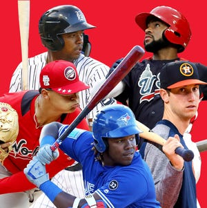 The five finalists for USA TODAY Sports' Minor League Player of the Year: 3B Vladimir Guerrero Jr., Blue Jays; OF Eloy Jimenez, White Sox; LHP Jesus Luzardo, A's; OF Jo Adell, Angels, OF Kyle Tucker, Astros.