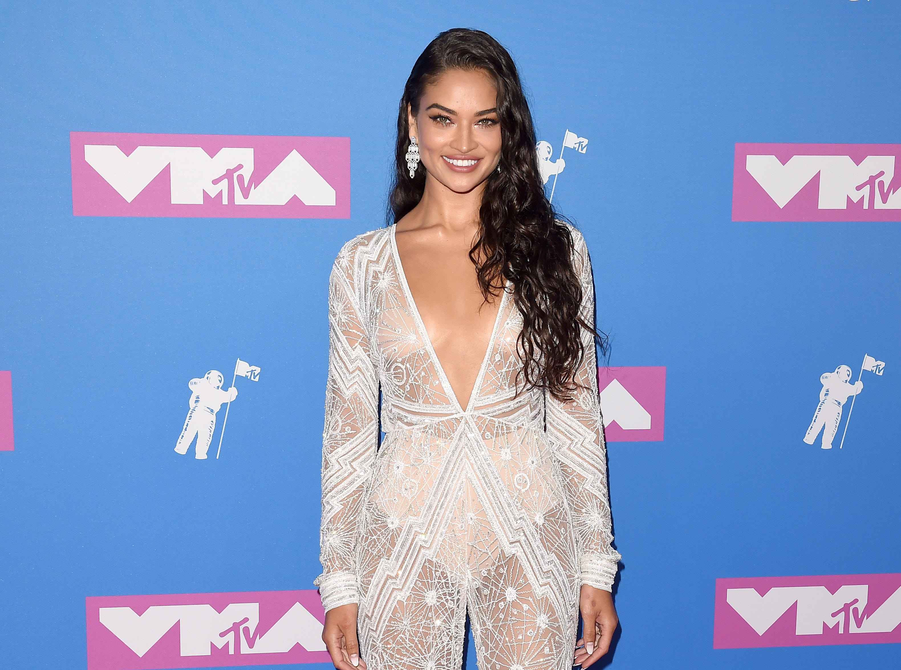 Model Shanina Shaik also went sheer at the 2018 MTV Video Music Awards.