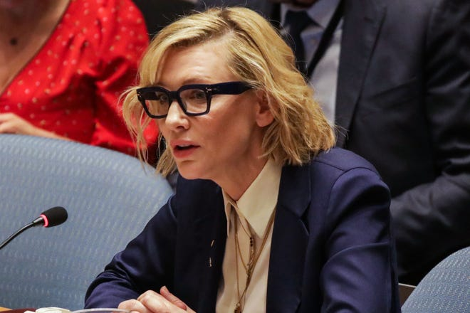 Actress Cate Blanchett, the UN High Commissioner for Refugees, addresses the United Nations Security Council on the situation in Myanmar at UN Headquarters in New York on Aug. 28, 2018.