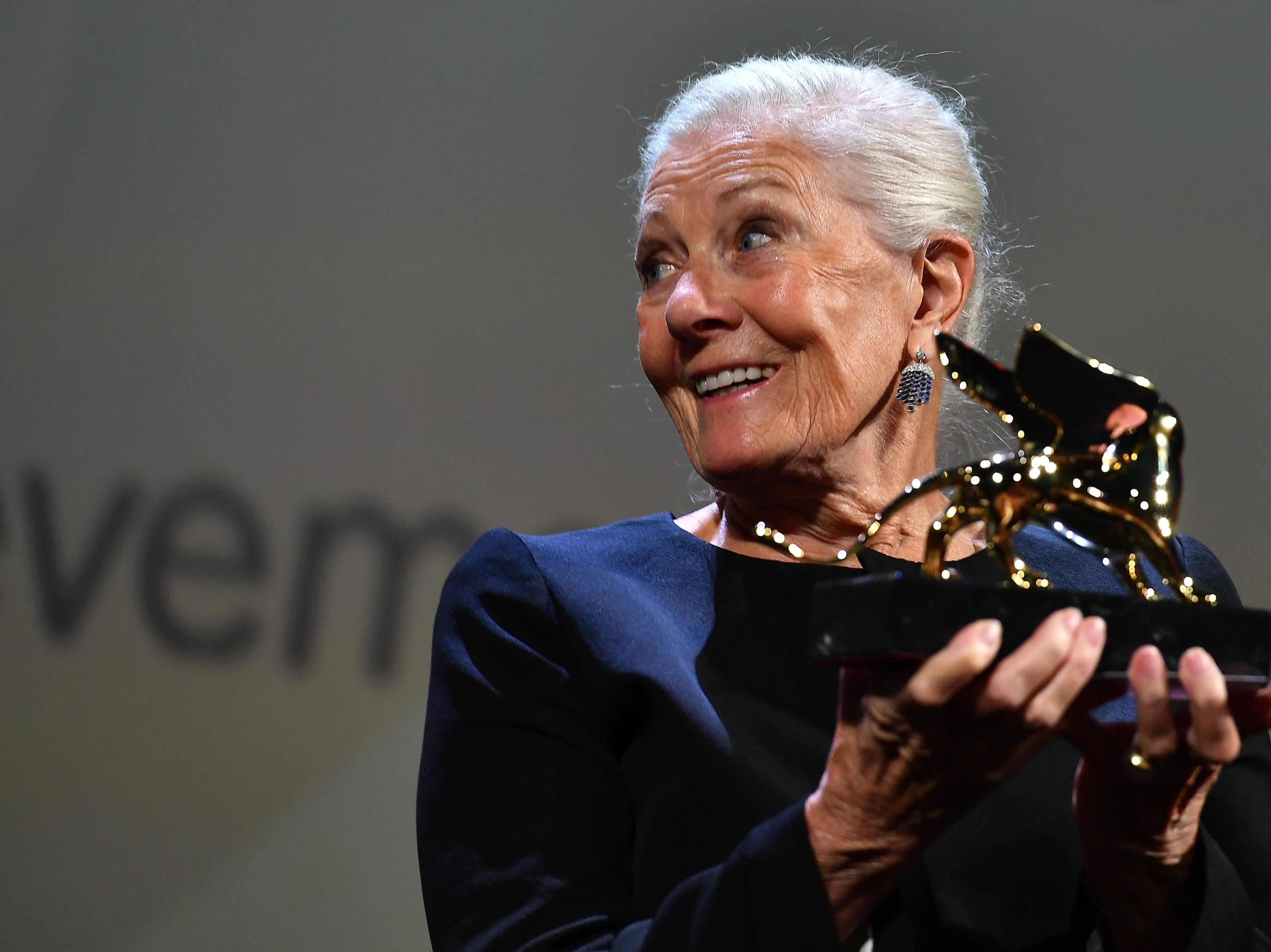 """Actress Vanessa Redgrave acknowledges receiving a Golden Lion Lifetime Achievement Award during the opening ceremony of the 75th Venice Film Festival, and prior to the premiere of the film """"First Man"""", presented in competition on August 29, 2018 at Venice Lido. (Photo by Vincenzo PINTO / AFP)VINCENZO PINTO/AFP/Getty Images ORIG FILE ID: AFP_18P1FD"""