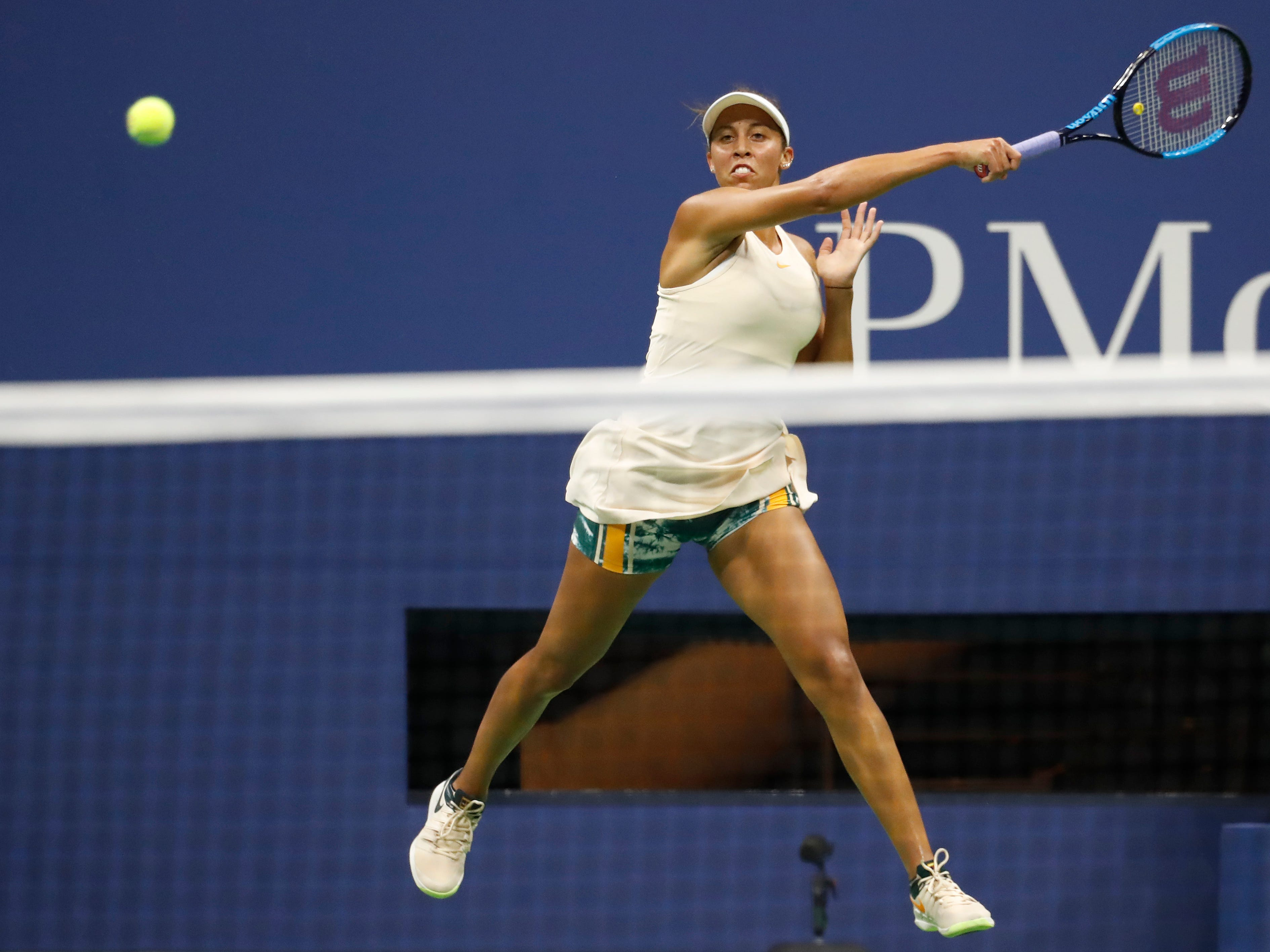 Madison Keys of the USA smacks a forehand during her 6-4, 6-4 victory against Pauline Parmentier of France.