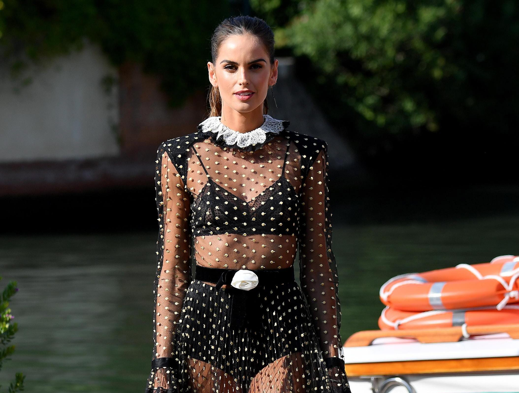 Model Izabel Goulart posed in a sheer gown ahead of the Venice International Film Festival, in Venice, Italy on Aug. 28, 2018.