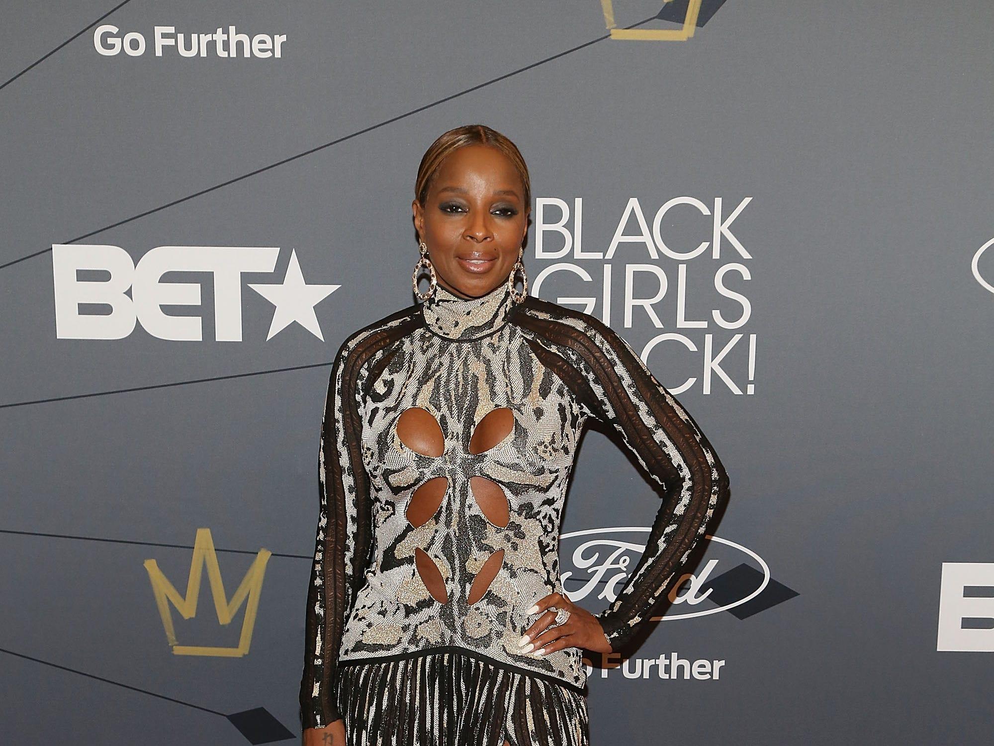 Mary J. Blige rocked a cut-out dress at the Black Girls Rock! 2018 red carpet on Aug. 26, 2018 in Newark.